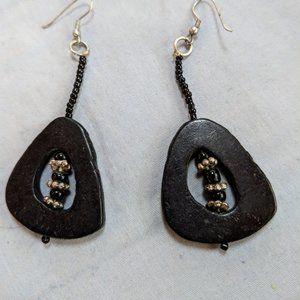 3/$20/Chico's Black Wood silver & black Earrings